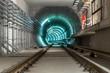 Underground tunnel with blue lights - 48021217