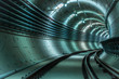 Underground tunnel with blue lights - 48021264