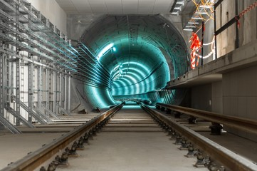 Underground tunnel with blue lights