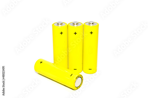 Yellow battery on white background , isolated