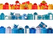 Collection of holiday banners with colorful gift boxes with bows