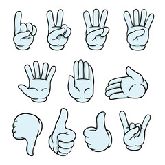 Set of cartoon hands showing various gestures.