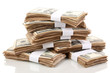 Stacks of one hundred dollars banknotes close-up isolated
