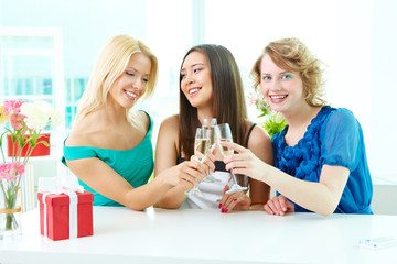 Girls toasting