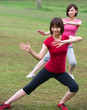 asian girls tai chi.outdoor , chinese women