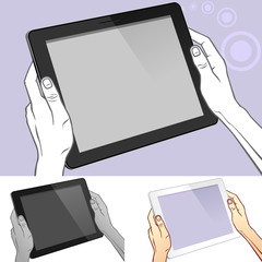 Hand Holding the Tablet Or Pad