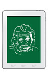 Hand drawing albert einstein on tablet vector poster