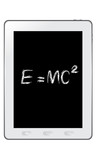 E=mc² Albert Einsteins physical formula on tablet vector poster