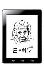 Hand drawing albert einstein on tablet vector