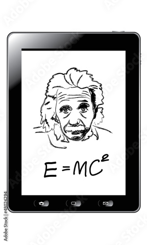 poster of Hand drawing albert einstein on tablet vector