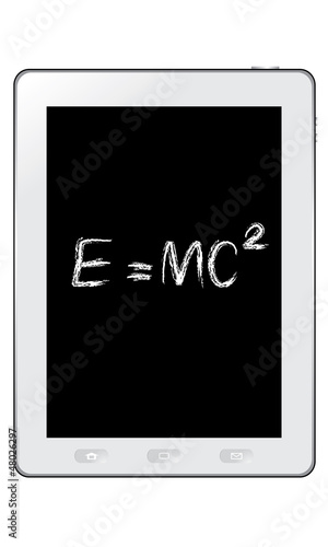 poster of E=mc² Albert Einsteins physical formula on tablet vector