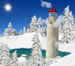 lighthouse lake fir trees red roof dreamscapes dream