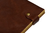 handmade leather brown notebook isolated on white