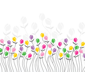 Greeting card of tulip flowers
