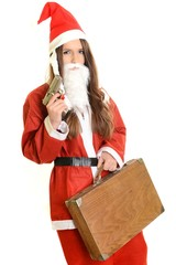 Santa helper aiming shotgun