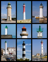 Nine photos mosaic of lighthouses in France