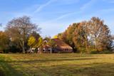 typical Dutch farm in autumn