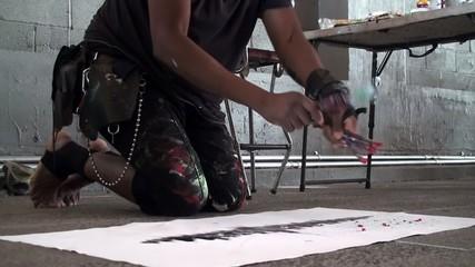 Street artist works