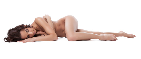 amazing nude brunette woman lay isolated on white