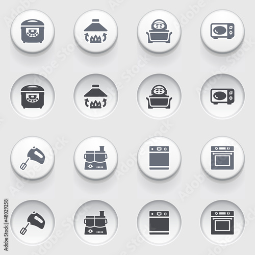 Icons for web on white buttons. Set 33.