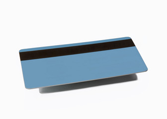 Tarjeta de crédito sobre fondo blanco.