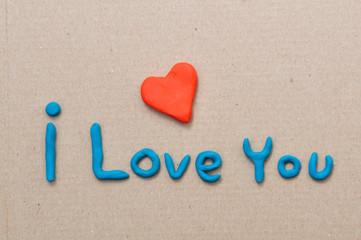 Plasticine heart and i love you