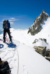 Alpinista sul mer de Glace