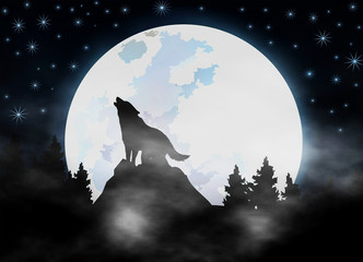 howling wolf in darkness forest - dark mist - Gothic