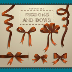Big set of brown gift bows with ribbons.