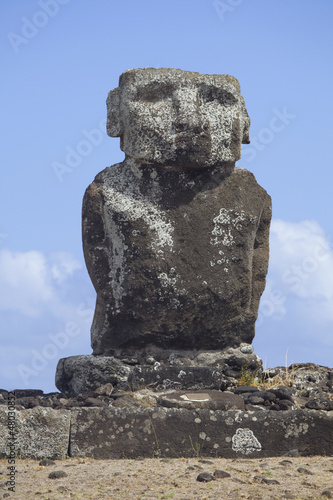 Ahu Ature Huki over looking Anakena Beach, Easter Island, Chile.