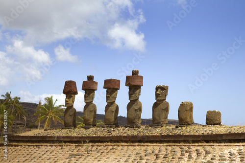 Ahu Nau Nau Moai at Anakena Beach, Easter Island, Chile.