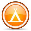 camping orange glossy icon on white background
