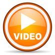 video orange glossy icon on white background