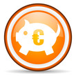 piggy bank orange glossy icon on white background