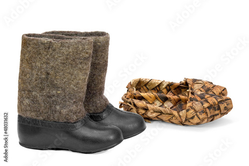 Russian bast shoes and boots