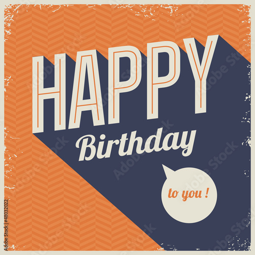 Vintage retro happy birthday card, with 3 dimensional fonts