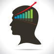 stock market graph in human head