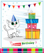 Happy birthday card design. Wwhite cat