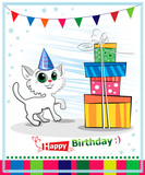 Happy birthday card design. Wwhite cat