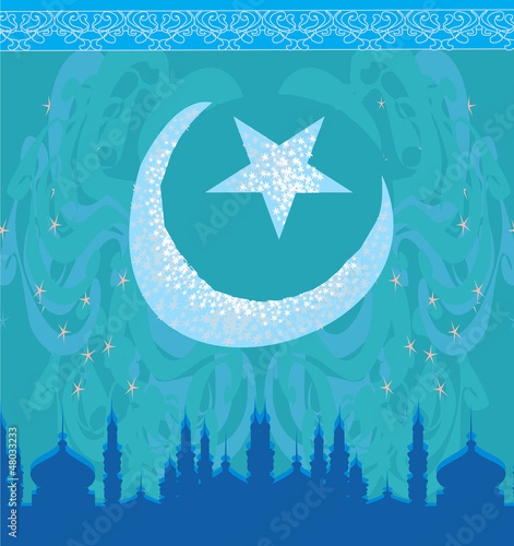 artistic pattern background with moon and mosque