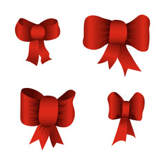 Set of red bows isolated on white background