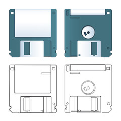 Realistic and sketch of diskette. Vector design.