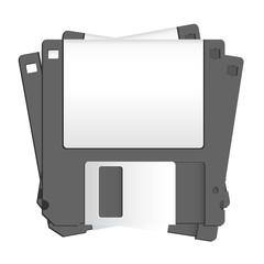Black diskette on white background. Vector design.