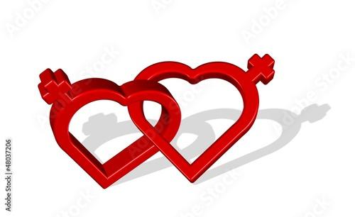 Lesbian love symbol. Illustration.