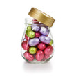 Glass jar with Easter eggs
