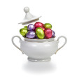 Easter eggs in sugar bowl