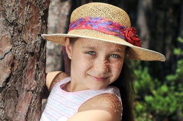 Summer little girl outdoor portrait