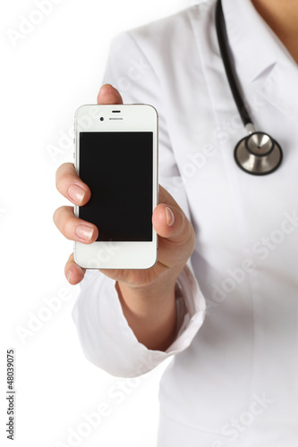 Doctor shows a mobile phone
