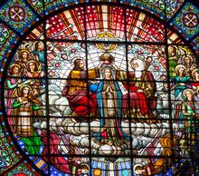 Witraż Jezus Mary Rose Montserrat Klasztor okna
