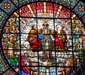Stained Glass Jesus Mary Rose Window Monastery Montserrat